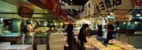 "Customers buying fish in a fish market, Tsukiji Fish Market, Tsukiji, Tokyo Prefecture, Kanto Region, Japan by Panoramic Images - 36"" x 12"", FulcrumGallery.com brand"