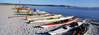 Kayaks on the beach, Third Beach, Sakonnet River, Middletown, Newport County, Rhode Island (horizontal) Fine Art Print