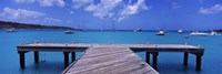 "Pier with boats in the background, Sandy Ground, Anguilla by Panoramic Images - 36"" x 12"""