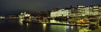 """Buildings in a city lit up at night, Sodermalm, Slussplan, Stockholm, Sweden by Panoramic Images - 36"""" x 12"""""""