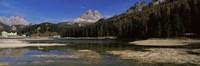 "Lake with a mountain range, Lake Misurina, Tre Cime Di Lavaredo, Dolomites, Cadore, Province of Belluno, Veneto, Italy by Panoramic Images - 36"" x 12"""