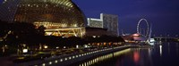 """Concert hall at the waterfront, Esplanade Theater, The Singapore Flyer, Singapore River, Singapore by Panoramic Images - 36"""" x 12"""""""