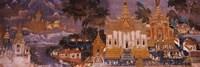 Ramayana murals in a palace, Royal Palace, Phnom Penh, Cambodia Framed Print