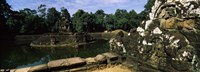 """Statues in a temple, Neak Pean, Angkor, Cambodia by Panoramic Images - 36"""" x 12"""""""