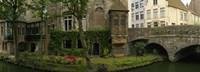 Buildings along channel, Bruges, West Flanders, Belgium Fine Art Print