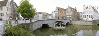 Bridge across a channel, Bruges, West Flanders, Belgium Fine Art Print
