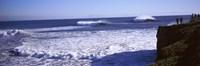 "Tourist looking at waves in the sea, Santa Cruz, Santa Cruz County, California, USA by Panoramic Images - 36"" x 12"""
