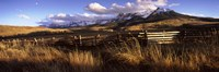 """Fence with mountains in the background, Colorado by Panoramic Images - 36"""" x 12"""""""