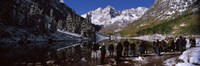 """Tourists at the lakeside, Maroon Bells, Aspen, Pitkin County, Colorado, USA by Panoramic Images - 36"""" x 12"""" - $34.99"""
