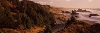 """Highway along a coast, Highway 101, Pacific Coastline, Oregon, USA by Panoramic Images - 36"""" x 12"""" - $34.99"""
