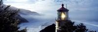 Top of Heceta Head Lighthouse in the Mist, Oregon Fine Art Print