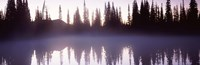 """Fog over a lake, Mt Rainier, Pierce County, Washington State by Panoramic Images - 36"""" x 12"""", FulcrumGallery.com brand"""