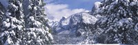 Mountains and waterfall in snow, Tunnel View, El Capitan, Half Dome, Bridal Veil, Yosemite National Park, California Fine Art Print
