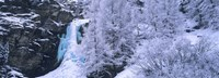 """High angle view of a frozen waterfall, Valais Canton, Switzerland by Panoramic Images - 36"""" x 12"""""""