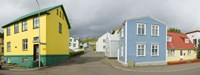 """Buildings along a street, Akureyri, Iceland by Panoramic Images - 36"""" x 12"""""""