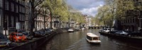 """Close up of Boats in a canal, Amsterdam, Netherlands by Panoramic Images - 36"""" x 12"""""""