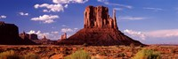 Rock formations on a landscape, The Mittens, Monument Valley Tribal Park, Monument Valley, Utah, USA Fine Art Print