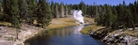 """Geothermal vent on a riverbank, Yellowstone National Park, Wyoming, USA by Panoramic Images - 36"""" x 12"""""""