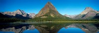 Reflection of mountains in Swiftcurrent Lake, Many Glacier, US Glacier National Park, Montana, USA Fine Art Print