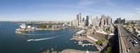 High angle view of a city, Sydney Opera House, Circular Quay, Sydney Harbor, Sydney, New South Wales, Australia Fine Art Print