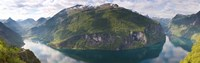 """Reflection of mountains in fjord, Geirangerfjord, Sunnmore, Norway by Panoramic Images - 36"""" x 12"""""""