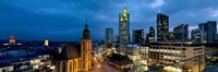 "Buildings lit up at night, St. Catherine's Church, Hauptwache, Frankfurt, Hesse, Germany by Panoramic Images - 36"" x 12"""