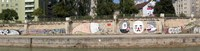 """Graffiti on a wall at the riverside, Wien River, Vienna, Austria by Panoramic Images - 48"""" x 12"""""""