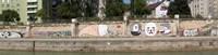 Graffiti on a wall at the riverside, Wien River, Vienna, Austria Fine Art Print