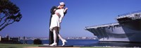 Kiss between sailor and nurse sculpture, Unconditional Surrender, San Diego Aircraft Carrier Museum, San Diego, California, USA Fine Art Print