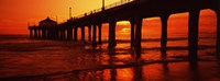 """Silhouette of a pier at sunset, Manhattan Beach Pier, Manhattan Beach, Los Angeles County, California, USA by Panoramic Images - 36"""" x 13"""""""