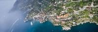Aerial view of a town, Atrani, Amalfi Coast, Salerno, Campania, Italy Fine Art Print
