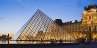 """Pyramid in front of the Louvre Museum, Paris, France by Panoramic Images - 36"""" x 12"""""""