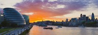 """City hall with office buildings at sunset, Thames River, London, England 2010 by Panoramic Images, 2010 - 36"""" x 12"""""""