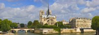 """Cathedral at the riverside, Notre Dame Cathedral, Seine River, Paris, Ile-de-France, France by Panoramic Images - 36"""" x 12"""""""