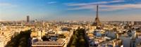 Cityscape with Eiffel Tower in background, Paris, Ile-de-France, France Fine Art Print