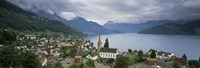 """City at the lakeside, Lake Lucerne, Weggis, Lucerne Canton, Switzerland by Panoramic Images - 36"""" x 12"""""""