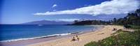"Tourists on the beach, Maui, Hawaii, USA by Panoramic Images - 36"" x 12"""