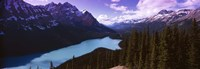 "Mountain range at the lakeside, Banff National Park, Alberta, Canada by Panoramic Images - 36"" x 12"""