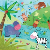 "Jungle Friends I by Kate and Elizabeth Pope - 12"" x 12"""