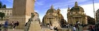 """Tourists in front of churches, Santa Maria Dei Miracoli, Santa Maria Di Montesanto, Piazza Del Popolo, Rome, Italy by Panoramic Images - 36"""" x 12"""""""