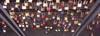 """Locks of Love on a fence, Hohenzollern Bridge, Cologne, North Rhine Westphalia, Germany by Panoramic Images - 36"""" x 12"""""""