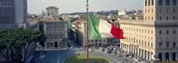 Italian flag fluttering with city in the background, Piazza Venezia, Vittorio Emmanuel II Monument, Rome, Italy Fine Art Print