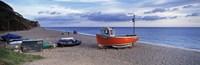 Boats on the beach, Branscombe Beach, Devon, England Fine Art Print