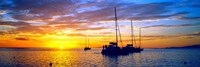 Silhouette of sailboats in the ocean at sunset, Tahiti, Society Islands, French Polynesia Fine Art Print