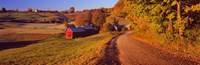 """Farmhouse beside a country road, Jenne Farm, Vermont, New England, USA by Panoramic Images - 36"""" x 12"""""""