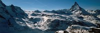 "Skiers on mountains in winter, Matterhorn, Switzerland by Panoramic Images - 36"" x 12"""