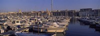 Boats docked at a harbor, Marseille, Bouches-Du-Rhone, Provence-Alpes-Cote d'Azur, France Fine Art Print