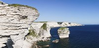 "Limestone cliffs on the coast, Grain De Sable, Bonifacio, Corsica, France by Panoramic Images - 36"" x 12"""