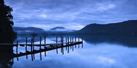 """Reflection of jetty in a lake, Derwent Water, Keswick, English Lake District, Cumbria, England by Panoramic Images - 36"""" x 12"""""""