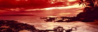 Orange Sunset over the coast, Makena Beach, Maui, Hawaii Fine Art Print